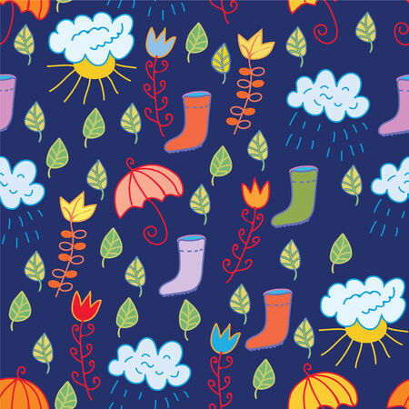Funny seamless childish pattern with rain motives Vector