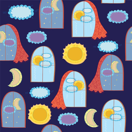 Windows funny seamless pattern at day and night Vector