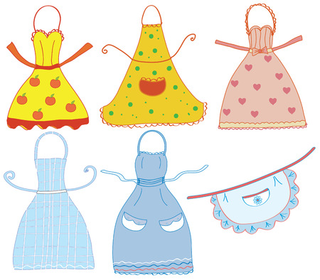 Funny bright  aprons set with differrent patterns Stock Vector - 7937623