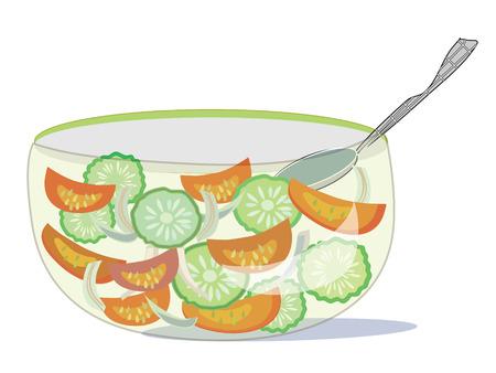 cucumber salad: Ensaladera con pepino y tomate  Vectores