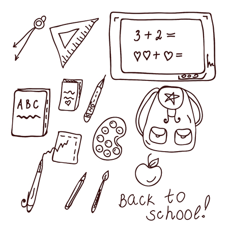 back round: School doodle with different objects and text