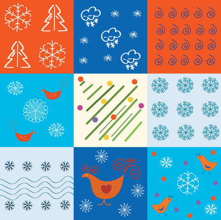 Set of winter holidays patterns with snowflakes and symbols Stock Vector - 7937627