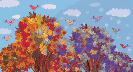 Autumn becomes winter - seasonal banner with trees Vector