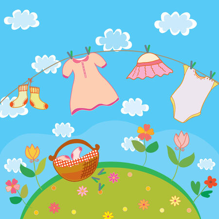 Baby laundry card for girl in summer Vector