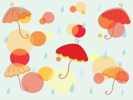 Autumn background with umbrella and circles Vector