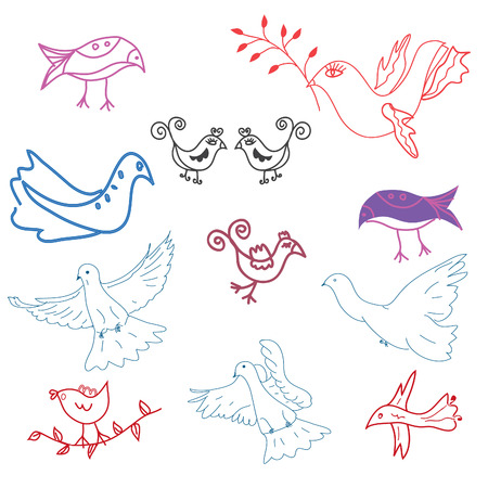 Set of doodle  funny birds Stock Vector - 8276293
