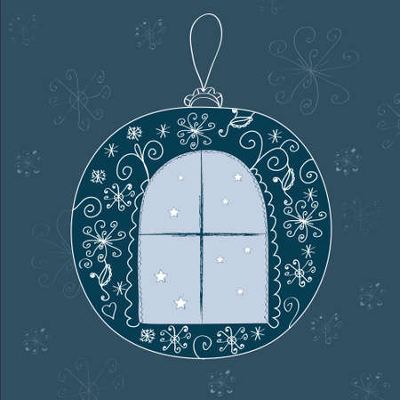 Christmas ball with window and snow design Stock Vector - 8276326