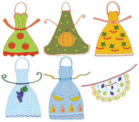 retro housewife: Apron set with vegetables and fruits vector