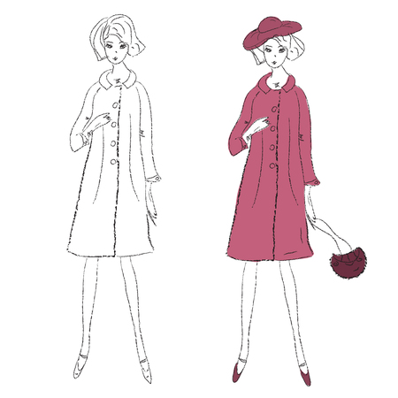 bocetos de personas: Chica de moda en el esbozo de abrigo de invierno Vectores