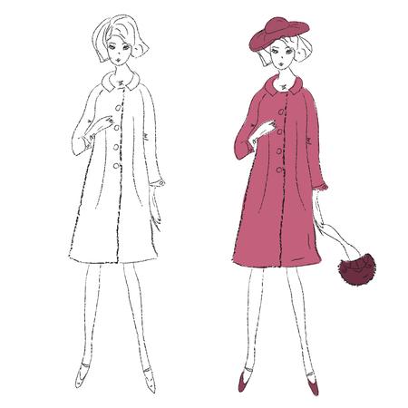 dress coat: Ragazza di moda inverno cappotto sketch