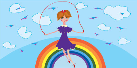Funny banner with girl and rainbow in the sky Vector