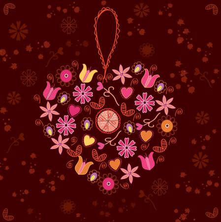 Abstract floral achtergrond met hart decoratie