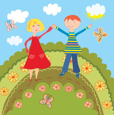 buttefly: Happy boy and girl outdoor at summer