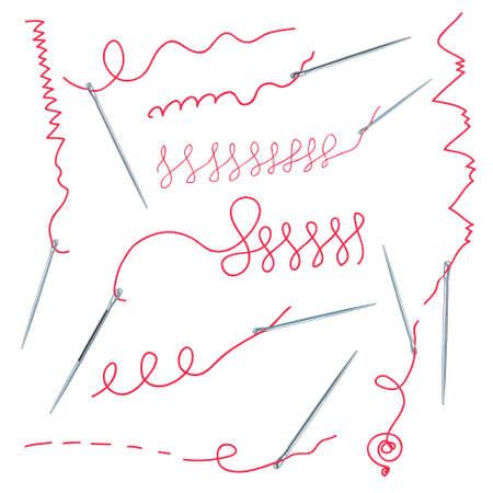 hilo rojo: Agujas y colecci�n de subproceso con seames Vectores