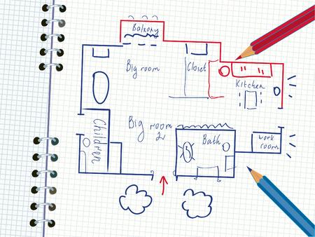 Plan de la maison familiale dans le carnet de notes avec crayons
