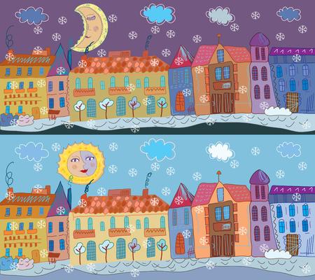 diciembre: Banner de ciudad de invierno en el día y la noche