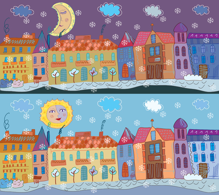 small town: Winter town banner at day and night