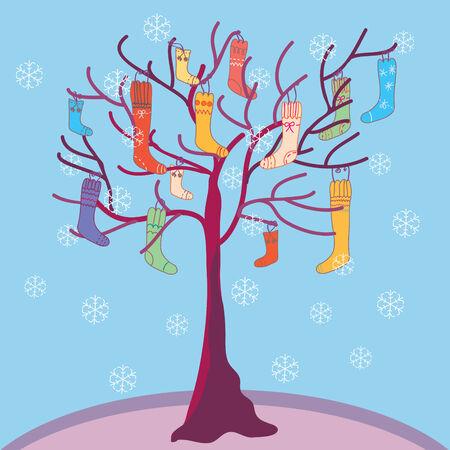 caroling: Christmas funny  tree with socks and snow