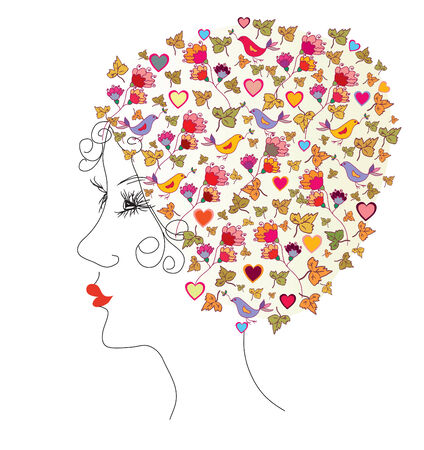 retro model: Floral head silhouette of young woman vector