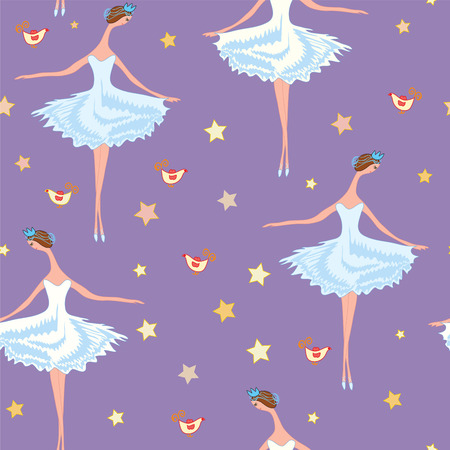Ballet seamless  pattern with girls, birds and stars Illustration