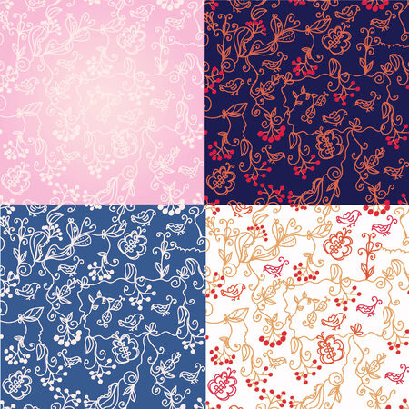 Floral fall seamless patterns set Vector
