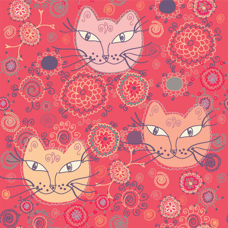 Seamless pattern with cats and flowers Vector