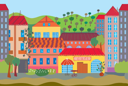 City cartoon seamless pattern with houses
