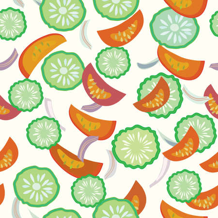 Cucumber and tomato seamless cartoon pattern vector Stock Vector - 8276298