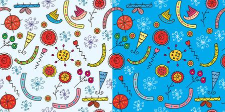 panting: Christmas funny patterns seamless set Illustration