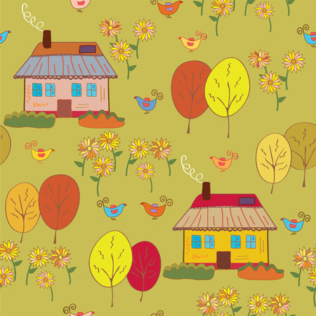 Seamless pattern with houses  at the autumn Vector