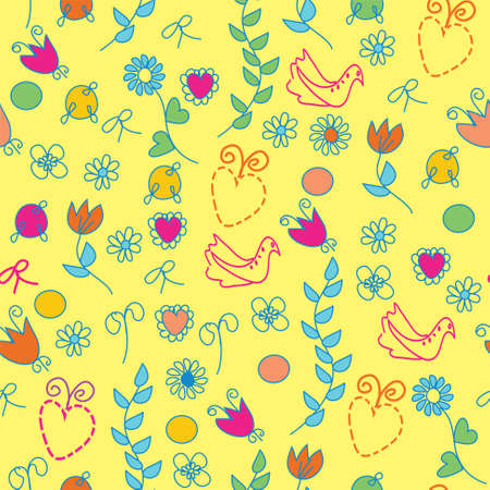 Funny floral  bright seamless pattern Vector