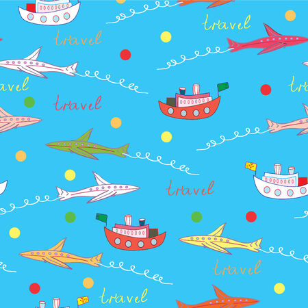 Travel cartoon seamless pattern with ships and airplains Vector