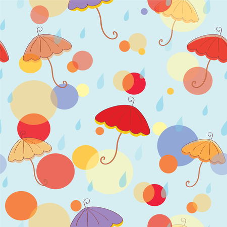 Seamless pattern with umbrella and rain Vector