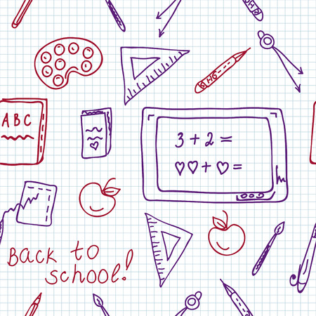 School seamless pattern in the notebook doodle Vector