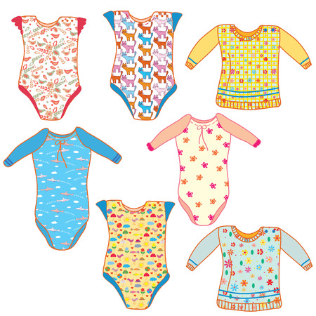 babygro: Baby clothes set for boy and girl Illustration