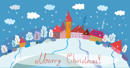 rural scene: Christmas background - banner with houses and trees