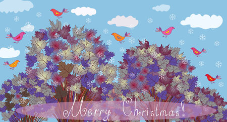 marple: Christmas card with trees and birds