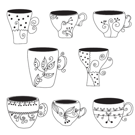 Set of cups with floral pattern Vector