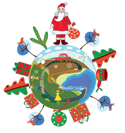 Christmas globe with santa claus and decorations Vector