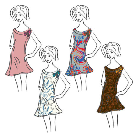 Sketch of retro woman in floral dresses Vector