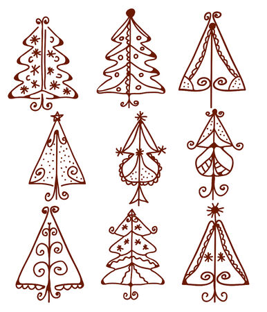 Christmas trees funny doodle set Stock Vector - 8276290