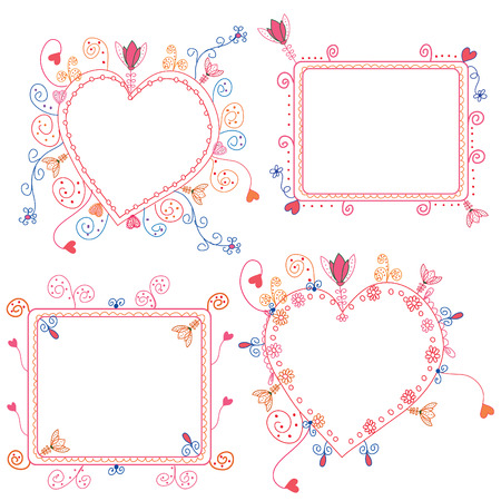 cute doodle: Floral frames set with hearts and decorations Illustration