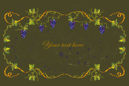 Floral frame with grape and copyspace Vector