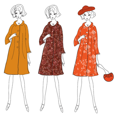 winter flower: Fashion girls in winter coats sketch