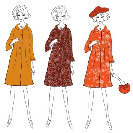 autumn fashion: Fashion girls in winter coats sketch