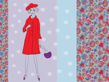 women s clothes: Fashion card with woman in winter retro Illustration