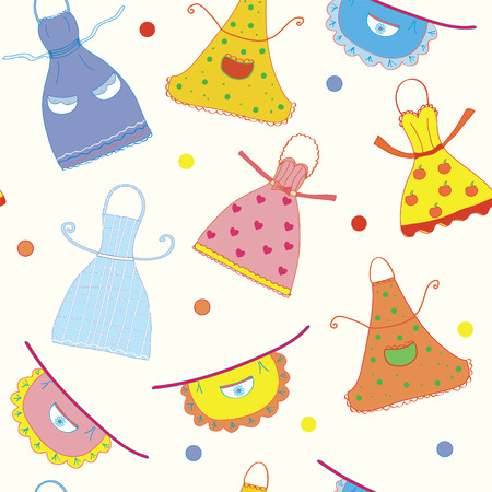 Seamless pattern with funny aprons set