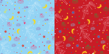 Christmas holiday seamless pattern childish set Stock Vector - 8276354