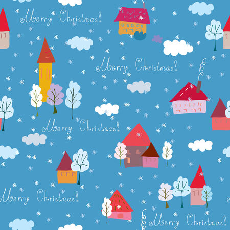 Christmas holiday seamless pattern with houses Vector