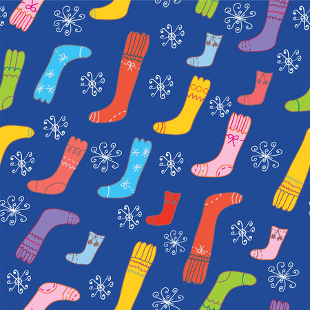 Christmas seamless pattern with socks and snow Vector
